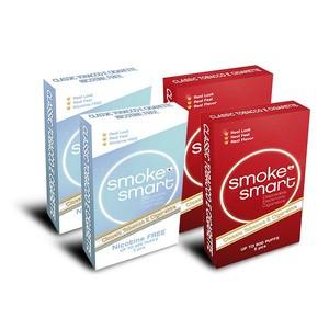 illustrasjonsbilde fire pakker med e-sigaretter classic og uten nikotin