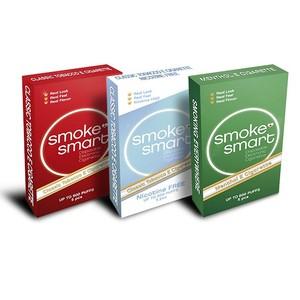 illustrasjonsbilde tre pakker med e-sigaretter classic, uten nikotin og mentol