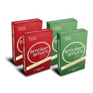illustrasjonsbilde fire pakker med e-sigaretter mentol og classic